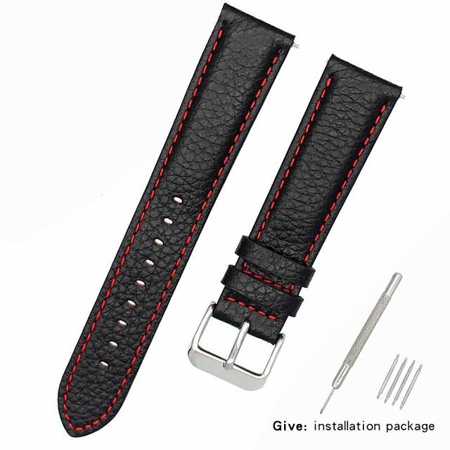 Cuir véritable / Cuir / Poil de veau Bracelet de Montre  Noir 17cm / 6,69 pouces / 18cm / 7 Pouces / 19cm / 7.48 Pouces 1cm / 0.39 Pouces / 1.2cm / 0.47 Pouces / 1.3cm / 0.5 Pouces