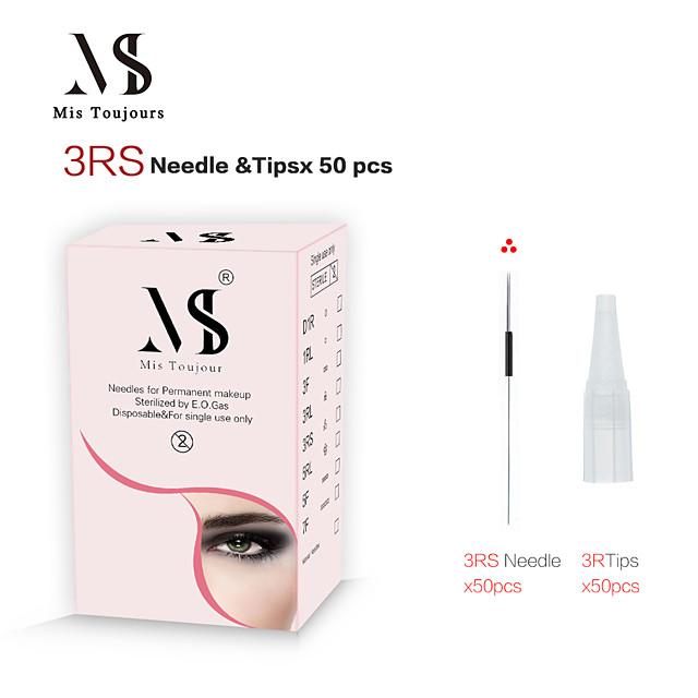 50pcs 3rs aiguilles de maquillage permanent avec des conseils pour microblading machine stylo maquillage semi-permanent sourcils lip eyeliner micropigmentation tatouage broderie accessoires de beauté
