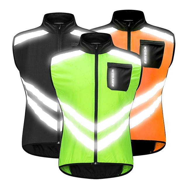 WOSAWE Homme Sans Manches Gilet Velo Cyclisme Orange Vert Noir Cyclisme Gilet / Sans Manche Veste Coupe Vent Maillot VTT Vélo tout terrain Vélo Route Coupe Vent Bandes Réfléchissantes Poche arrière