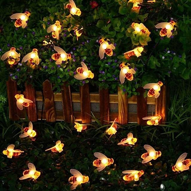 6m 스트링 조명 30 LED 1 세트 따뜻한 화이트 방수 태양의 장식 태양열 전원