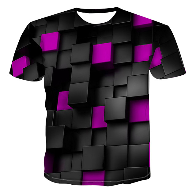 Homme T shirt Graphique Imprimé Manches Courtes Décontracté Hauts Bleu Violet Jaune