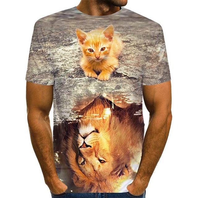 Homme T shirt Bloc de Couleur 3D Animal Imprimé Manches Courtes Usage quotidien Hauts Chic de Rue Exagéré Marron