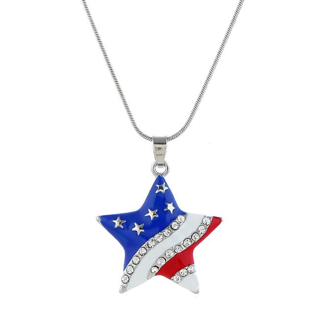 Collier Pendentif Femme Classique drapeau américain Zircon Etoile Drapeau Bijoux patriotique Européen Branché Doux Mode Cool Adorable Argent 40+5 cm Colliers Tendance Bijoux 1pc pour Quotidien Plein