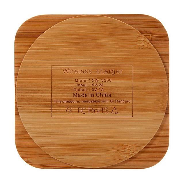 mode créatif bois chargeur de charge en bois de bambou sans fil qi chargeur pour iphone samsung htc huawei-carré