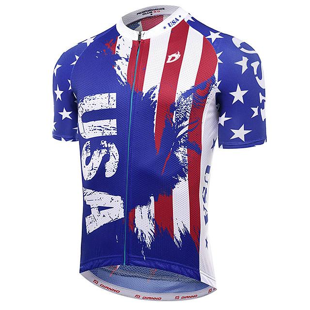 21Grams Amérique / Etats-Unis Drapeau National Homme Manches Courtes Maillot Velo Cyclisme - Rouge + bleu. Vélo Maillot Hauts / Top Respirable Séchage rapide Evacuation de l'humidité Des sports