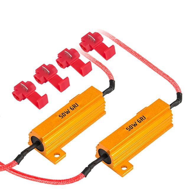 2pcs 50w résistances de charge décodeur led ampoule flash erreur rapide annulation de câblage pour la voiture led clignotant drl antibrouillard