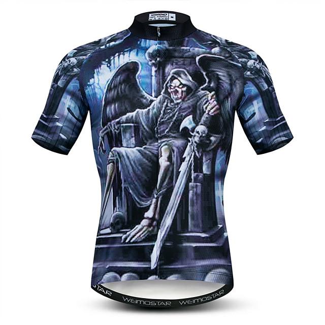 21Grams 3D Crânes Squelette Homme Manches Courtes Maillot Velo Cyclisme - Bleu Marine Vélo Maillot Hauts / Top Respirable Séchage rapide Evacuation de l'humidité Des sports Elasthanne Polyester VTT