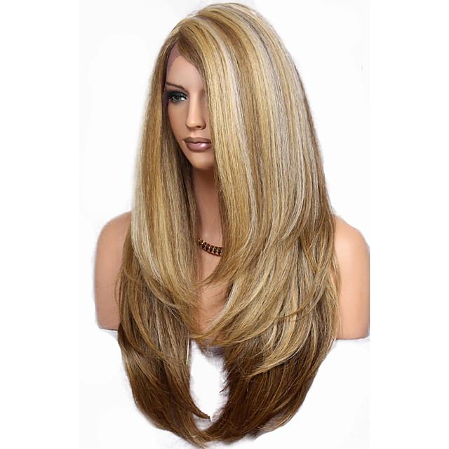 Perruque Synthétique Droite naturelle Coupe Dégradée Perruque Très long Lin Cheveux Synthétiques 68~72 pouce Femme Nouvelle arrivee Marron