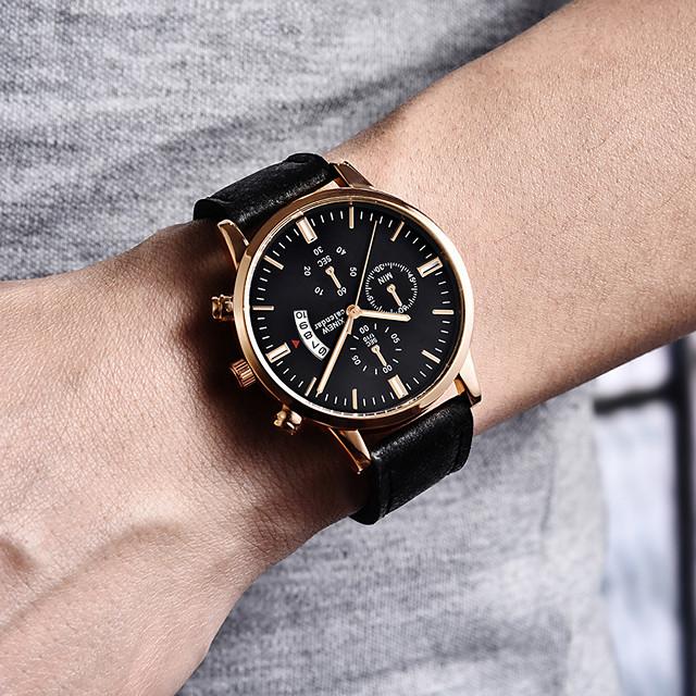 สำหรับผู้ชาย นาฬิกาตกแต่งข้อมือ นาฬิกาอิเล็กทรอนิกส์ (Quartz) สไตล์สมัยใหม่ สไตล์ ไม่เป็นทางการ โครโนกราฟ ระบบอนาล็อก สีดำและสีขาว สีทอง+สีดำ ดำ / น้ำเงิน / สองปี / หนัง / สองปี
