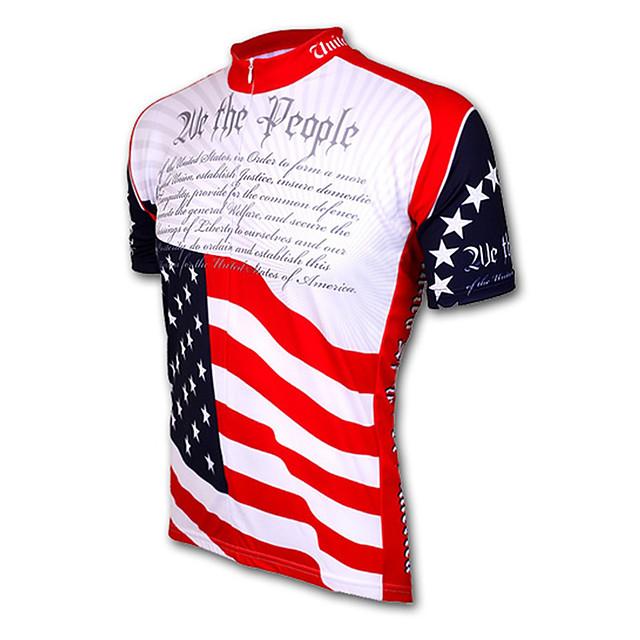 21Grams Amérique / Etats-Unis Drapeau National Homme Manches Courtes Maillot Velo Cyclisme - Rouge + bleu. Vélo Maillot Sommet Respirable Séchage rapide Evacuation de l'humidité Des sports Térylène