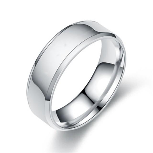 วงแหวน สีดำ สีทอง สีเงิน Titanium Steel ง่าย พื้นฐาน 1pc 5 6 7 8 9 / สำหรับผู้หญิง / สำหรับผู้ชาย