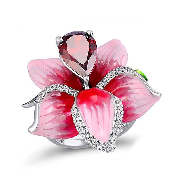 Femme Bague Fantaisie Grosse Zircon Classique Rose Cuivre Fleur Elégant simple 1pc 6 7 8 9 10 / Bague / Anneaux