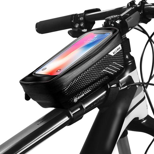 WILD MAN Bag Cell Phone Marsupio triangolare da telaio bici 6.2 pollice Schermo touch Ompermeabile Resistente all'acqua Ciclismo per iPhone 8 Plus / 7 Plus / 6S Plus / 6 Plus iPhone X Nero Nero