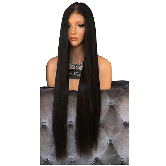 Perruque Synthétique Droite naturelle Coupe Dégradée Perruque Très long Noir Cheveux Synthétiques 76~80 pouce Femme Synthétique Noir