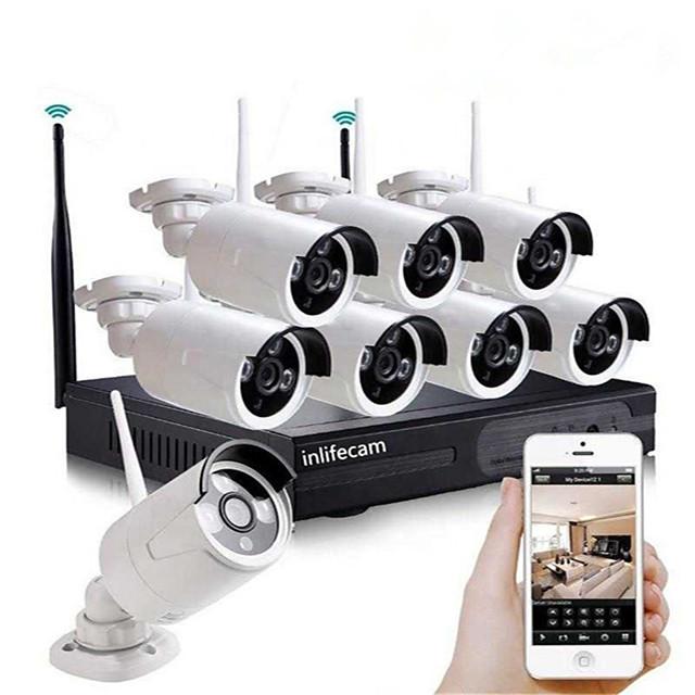 8ch 720p hd cctv caméra sans fil nvr kit système de sécurité wifi ip kit