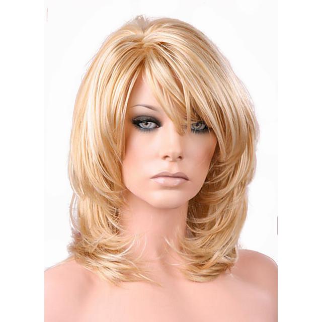 Perruque Synthétique Boucle lâche Coupe Dégradée Perruque Blond Longueur moyenne Or clair Cheveux Synthétiques 38~42 pouce Femme Nouvelle arrivee Blond