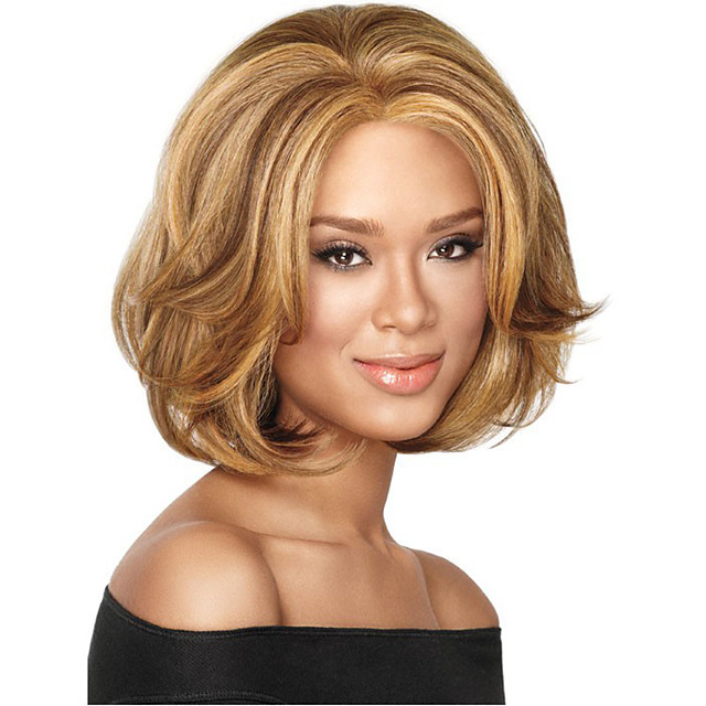 Perruque Synthétique Bouclé Coupe Asymétrique Perruque Court Blond Fraise / Blond Platine Cheveux Synthétiques 8 pouce Femme Soirée Marron