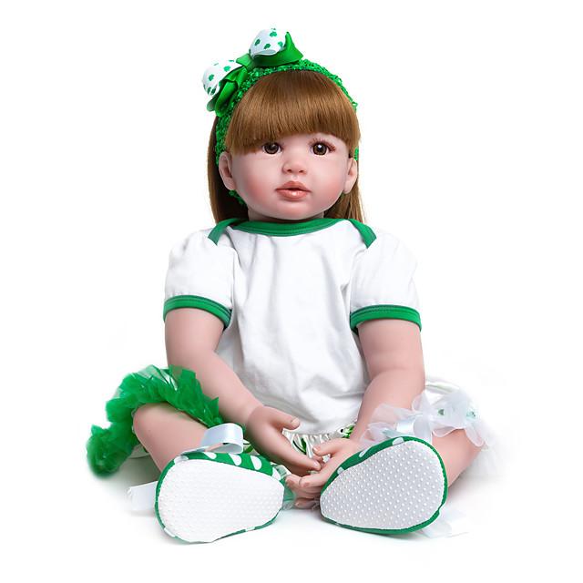 24 pouce Poupées Reborn Bébés Fille Enfant / Adolescent Tissu cadeaux noël enfant avec vêtements et accessoires pour les cadeaux d'anniversaire et de festival des filles