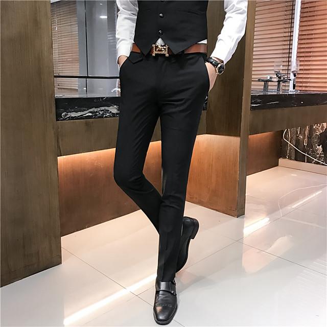 Homme basique pantalon de costume Pantalon Couleur Pleine Toute la longueur Noir Marron clair Kaki