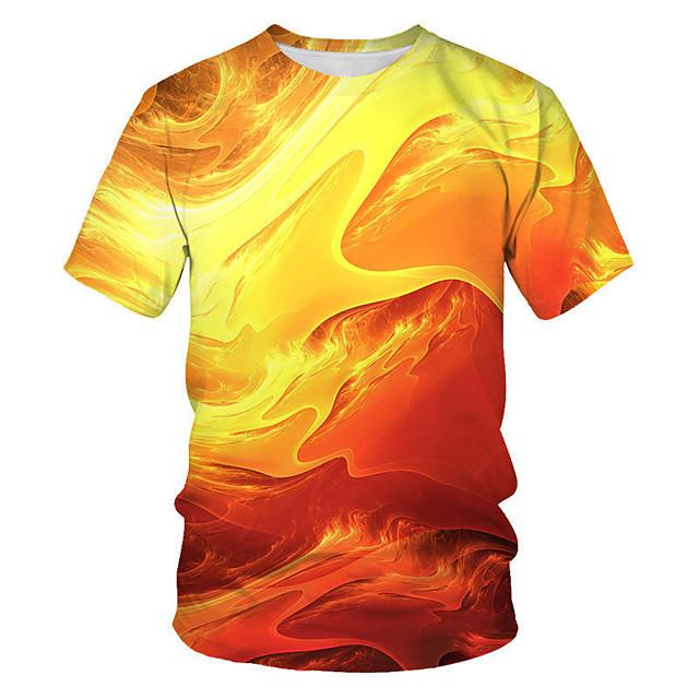 남성용 T 셔츠 기하학 3D 플러스 사이즈 프린트 짧은 소매 일상 탑스 스트리트 쉬크 펑크 & 고딕 오렌지