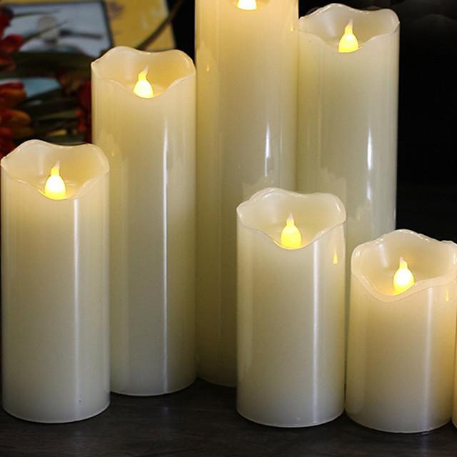 lángmentes led gyertyafény valódi paraffin viasz oszlopok reális lengő lángokkal születésnapi esküvői karácsonyi dekorációhoz