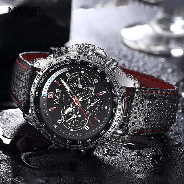megir heren quartz horloge luxe lederen sport horloge datum klok quartz horloge
