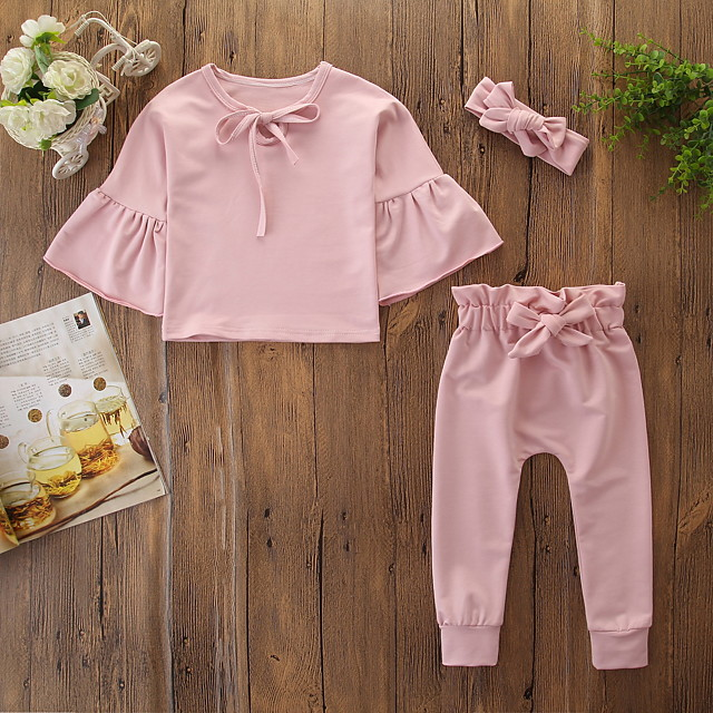 bébé Fille Actif / Basique Rose Poudré Couleur Pleine Noeud Manches Longues Normal Coton Ensemble de Vêtements Rose Claire / Bébé
