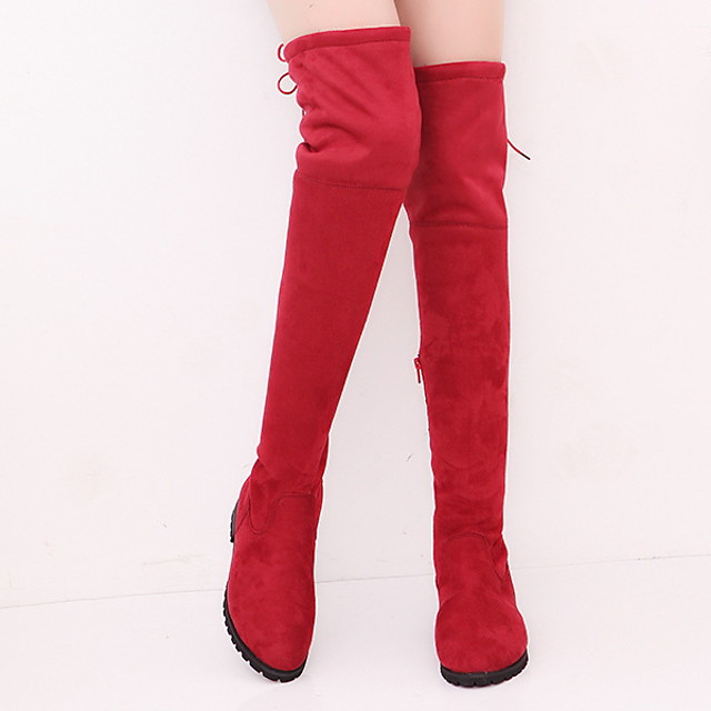 Women's Boots Over-The-Knee Boots Flat Heel Round Toe Over The Knee Boots Casual Daily Suede Solid Colored Black Red Gray