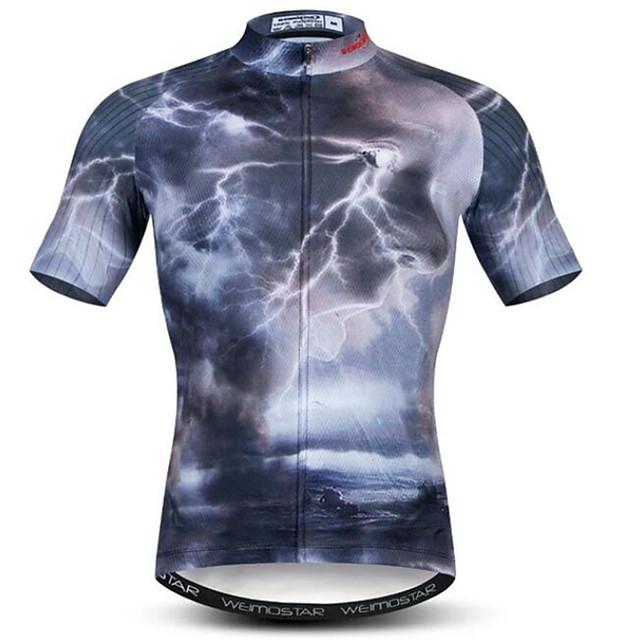 21Grams 3D Lightning Homme Manches Courtes Maillot Velo Cyclisme - Noir Vélo Maillot Hauts / Top Respirable Evacuation de l'humidité Séchage rapide Des sports Polyester Elasthanne VTT Vélo tout