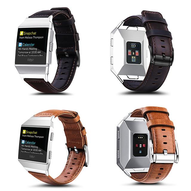 Reim til Smartklokke til Fitbit 1 pcs Klassisk spenne Ekte lær Erstatning Håndleddsrem til Fitbit ionisk