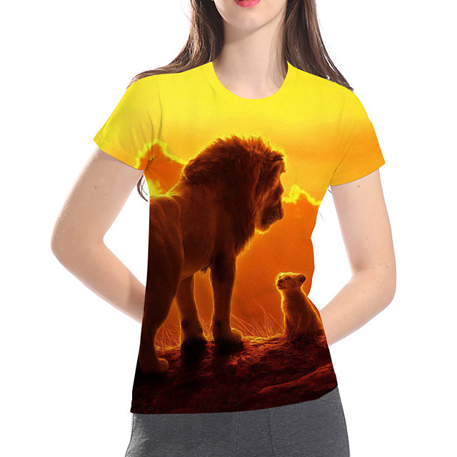 여성용 T 셔츠 기하학 3D 동물 플러스 사이즈 프린트 짧은 소매 거리 탑스 베이직 과장된 옐로우