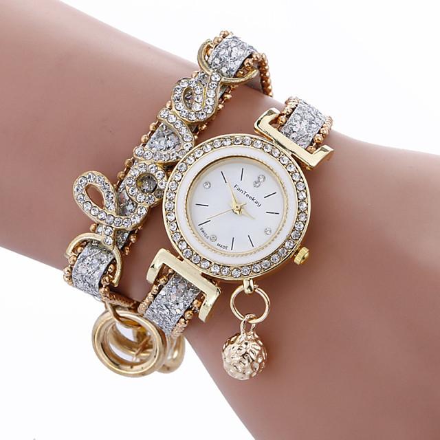 orologio da polso elegante da donna al quarzo con cinturino in metallo e strass in pelle