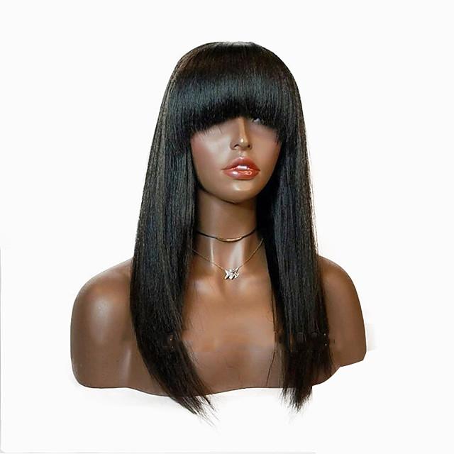 Perruque Synthétique Droite naturelle Coupe Dégradée Perruque Longueur moyenne Noir Cheveux Synthétiques 48~52 pouce Femme Nouvelle arrivee Noir