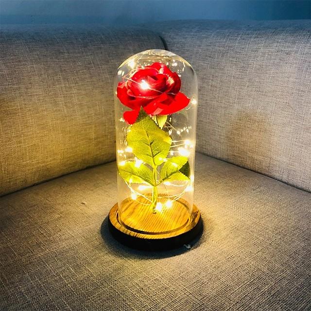 beauté et la bête rose soie rouge a mené des lumières a duré pour toujours dans le dôme en verre sur la base en bois cadeau pour la Saint Valentin anniversaire de mariage anniversaire