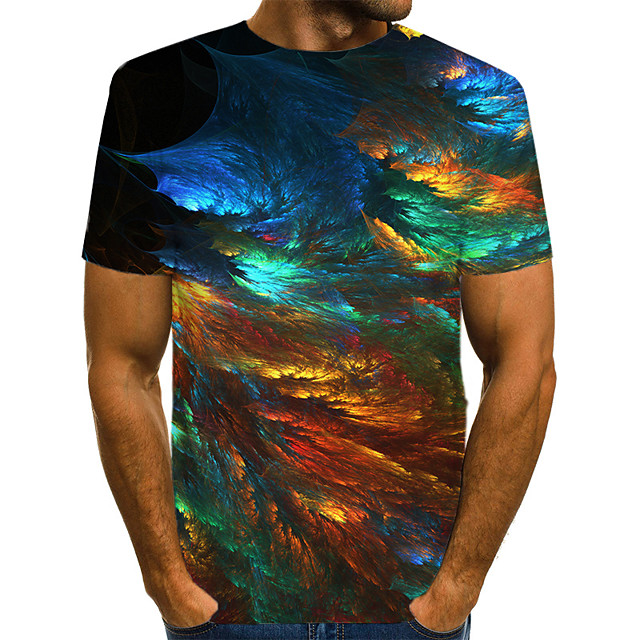 Men's T shirt Graphic Abstract Print Short Sleeve Casual Tops Streetwear Exaggerated Green