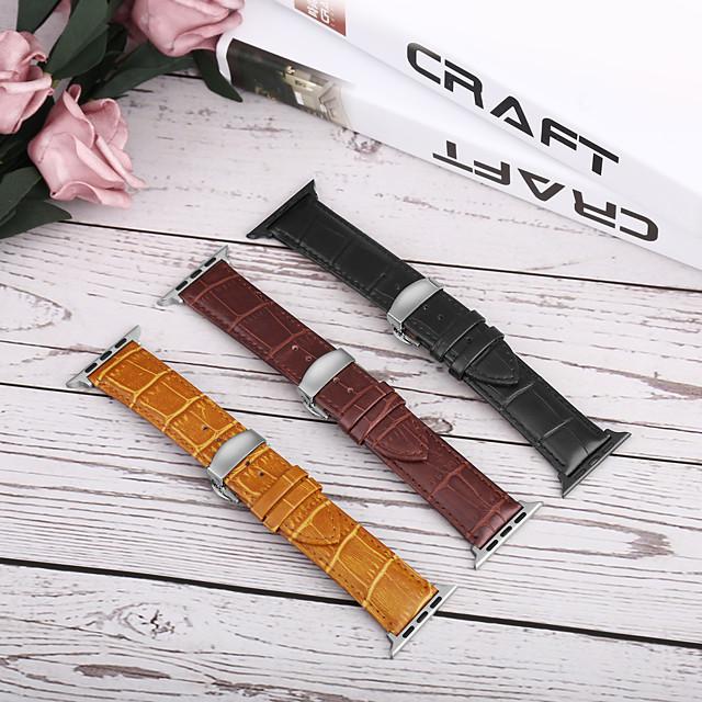 Klockarmband för Apple Watch Series 5/4/3/2/1 Apple fjäril spänne Äkta Läder Handledsrem