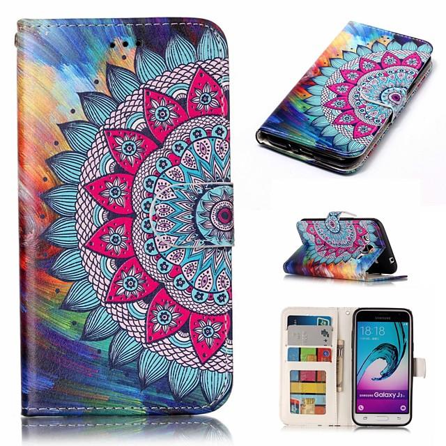 Кейс для Назначение SSamsung Galaxy J3 (2016) Кошелек / Бумажник для карт / Флип Чехол Цветы Твердый Кожа PU