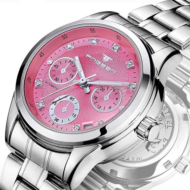 Pentru femei ceas mecanic Mecanism automat Stil Oficial Lux Rezistent la Apă Analog Alb Galben Roz Îmbujorat / Oțel inoxidabil / Calendar