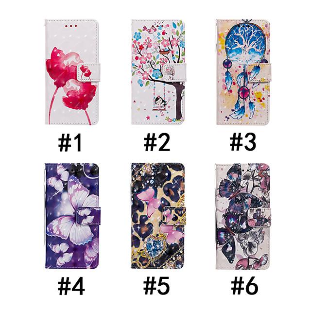 Кейс для Назначение SSamsung Galaxy J7 Prime / J7 (2017) / J7 (2016) Кошелек / Бумажник для карт / со стендом Чехол Бабочка / дерево / Цветы Твердый Кожа PU