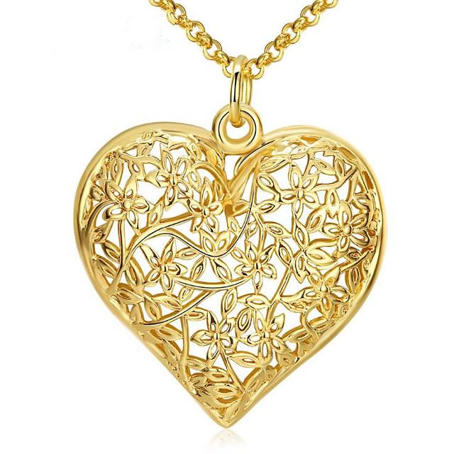 Collier Pendentif Femme Classique Plaqué or Béni Mode Adorable Dorée 46 cm Colliers Tendance Bijoux 1pc pour Cadeau Quotidien Heart Shape