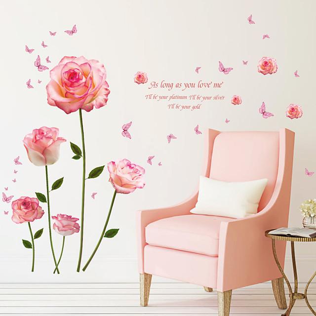 الوردي ملصقات الحائط زهرة الرومانسية - ملصقات الحائط الطائرة الزهور / النباتية / المناظر الطبيعية غرفة الدراسة / مكتب / غرفة الطعام / المطبخ