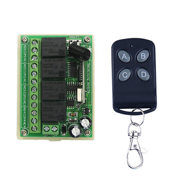 DC12V 4CH Learning code Remote Control Switch / 4 button remote / LED/doors Power ON/OFF control 433mhz