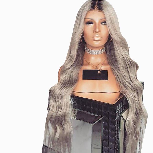 Perruque Synthétique Ondulation naturelle Coupe Dégradée Perruque Très long Grise Cheveux Synthétiques 62~68 pouce Femme Nouvelle arrivee Gris foncé