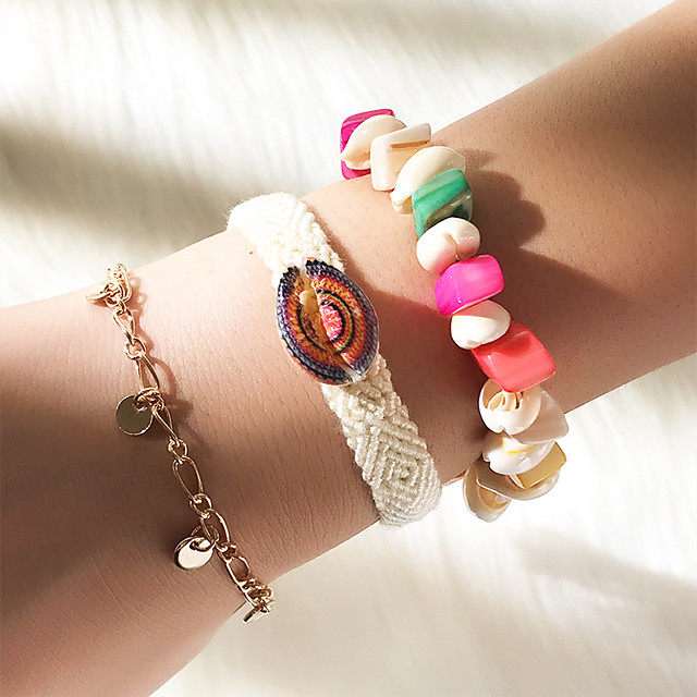 3pcs Bracelets Vintage Boucles d'oreilles / Bracelet Loom Bracelet Femme Multirang Coquillage Coquillage simple Classique Rétro Vintage Mode Le style mignon Bracelet Bijoux Arc-en-ciel pour Quotidien