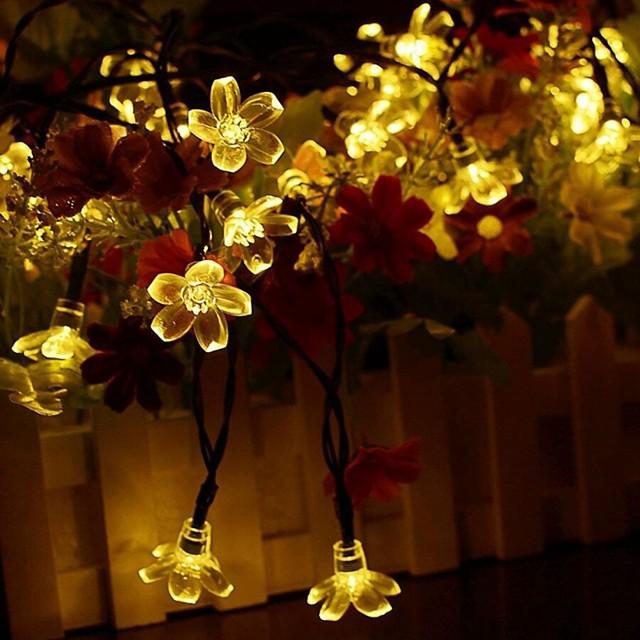 7m Bandes Lumineuses LED Flexibles 50 LED 1 set Blanc Chaud Bleu Imperméable Solaire Décorative Alimentation Solaire / IP44