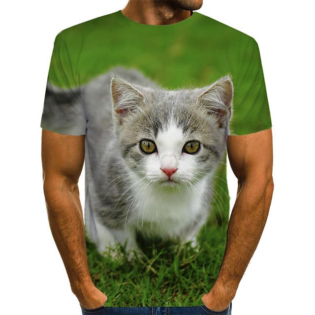 Homens Camiseta Estampa Colorida 3D Animal Estampado Manga Curta Rua Blusas Moda de Rua Exagerado Verde