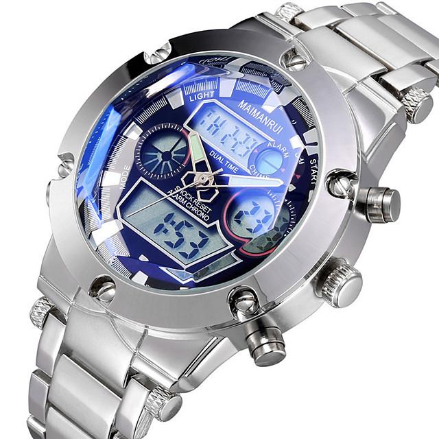 Bărbați Ceas de Mână Lux Rezistent la Apă Analog - Digital Alb Albastru / Doi ani / Oțel inoxidabil / Oțel inoxidabil / Japoneză / Alarmă