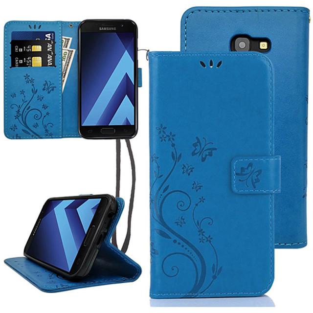 Кейс для Назначение SSamsung Galaxy A5 Бумажник для карт / Флип Чехол Цветы Твердый Кожа PU