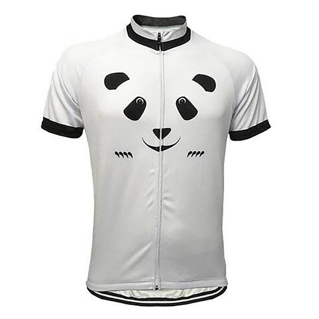 21Grams Animal Panda Homme Manches Courtes Maillot Velo Cyclisme - Noir / Blanc Vélo Maillot Hauts / Top Respirable Séchage rapide Evacuation de l'humidité Des sports Térylène VTT Vélo tout terrain