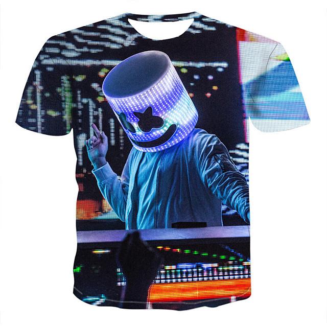 Homme T shirt Graphique Géométrique 3D Grandes Tailles Imprimé Manches Courtes Sortie Hauts Elégant Chic de Rue Noir